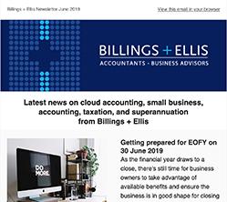 Billings + Ellis June 2019 newsletter